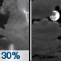 Tonight: A 30 percent chance of showers and thunderstorms, mainly before 8pm.  Mostly cloudy, with a low around 70. West southwest wind around 5 mph becoming calm  in the evening.