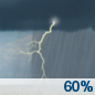 Saturday: Showers and thunderstorms likely.  Patchy fog before 9am.  Otherwise, cloudy, with a high near 73. South wind 10 to 15 mph becoming west in the afternoon. Winds could gust as high as 20 mph.  Chance of precipitation is 60%. New rainfall amounts between a tenth and quarter of an inch, except higher amounts possible in thunderstorms.